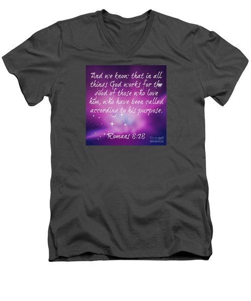 Men's V-Neck T-Shirt featuring the digital art God Works by Leanne Seymour