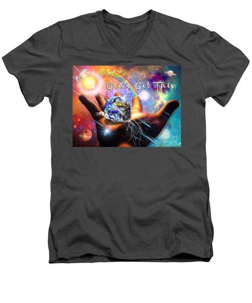 God's Got This Men's V-Neck T-Shirt by Dolores Develde