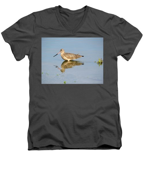 Men's V-Neck T-Shirt featuring the photograph  Godwit by Phyllis Beiser