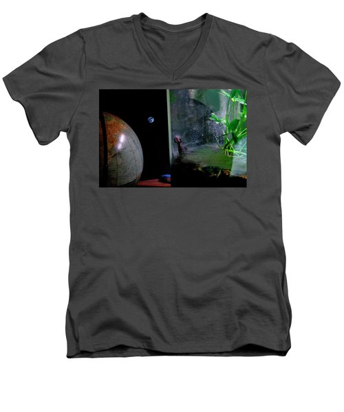 Godzilla Watches And The Moon Is Blue Men's V-Neck T-Shirt