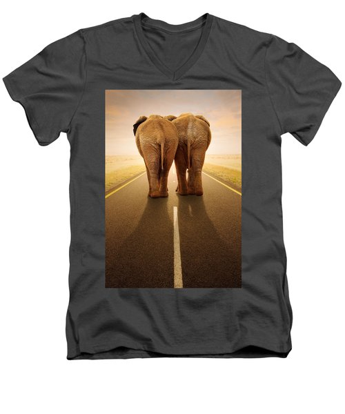 Going Away Together / Travelling By Road Men's V-Neck T-Shirt by Johan Swanepoel