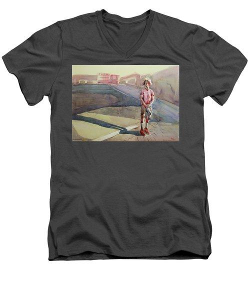 Coming Home Men's V-Neck T-Shirt by Becky Kim