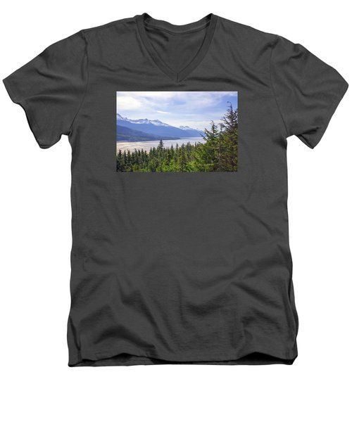 Going Up The Mountain Men's V-Neck T-Shirt by Allan Levin