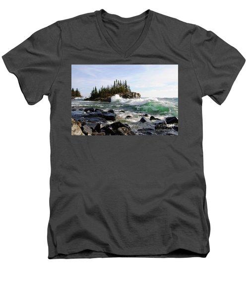 Going Wild Men's V-Neck T-Shirt by Sandra Updyke
