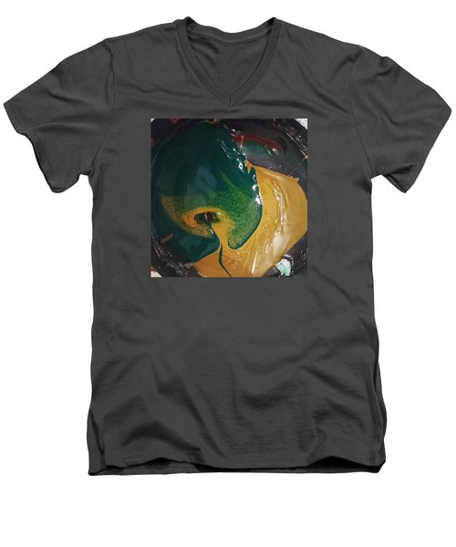 Gojira Basking By The Docks In Delhi Men's V-Neck T-Shirt by Gyula Julian Lovas