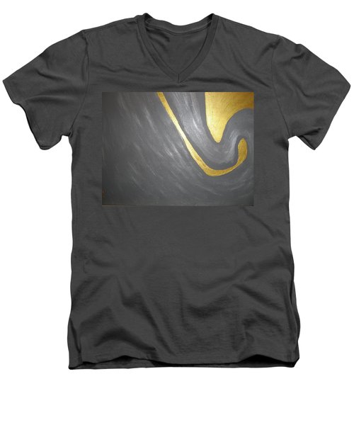 Gold And Gray Men's V-Neck T-Shirt by Barbara Yearty