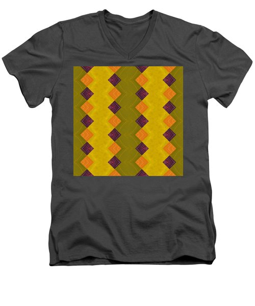 Men's V-Neck T-Shirt featuring the painting Gold And Green With Orange  by Michelle Calkins