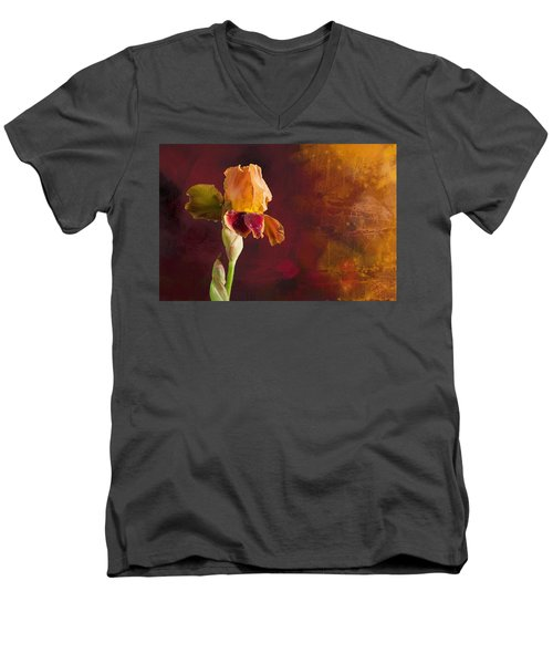 Gold And Red Iris Men's V-Neck T-Shirt by Debra Baldwin