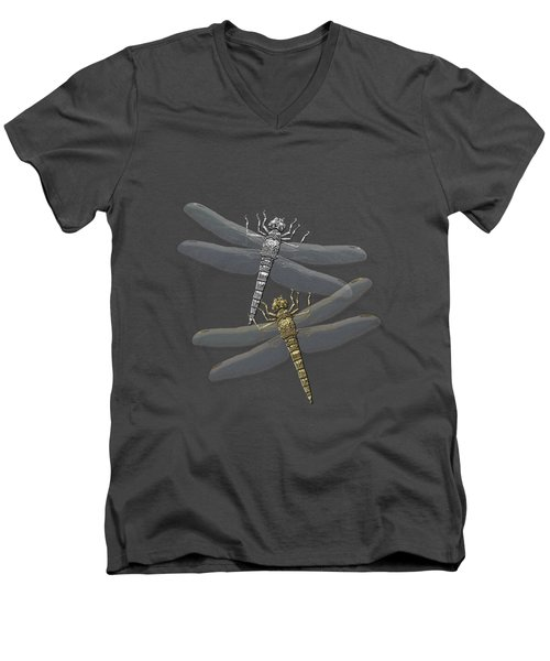 Men's V-Neck T-Shirt featuring the digital art Gold And Silver Dragonflies On Red Canvas by Serge Averbukh