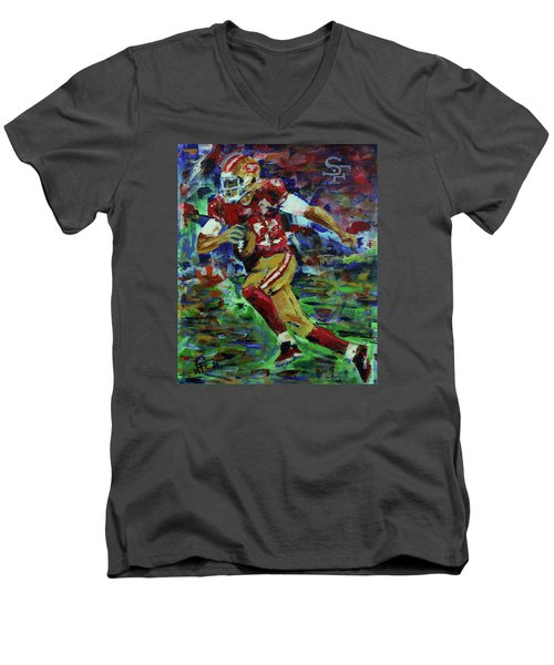 Gold Blooded 49ers Men's V-Neck T-Shirt by Walter Fahmy