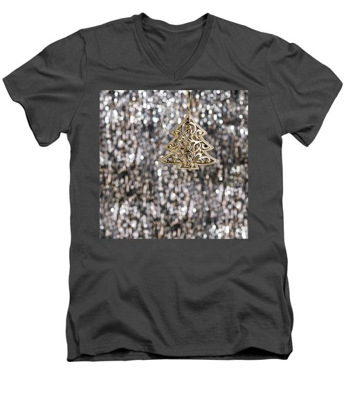 Men's V-Neck T-Shirt featuring the photograph Gold Christmas Tree by Ulrich Schade