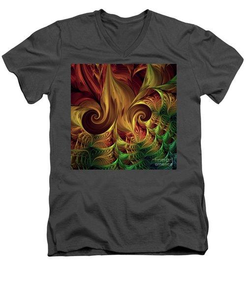 Men's V-Neck T-Shirt featuring the digital art Gold Curl by Deborah Benoit