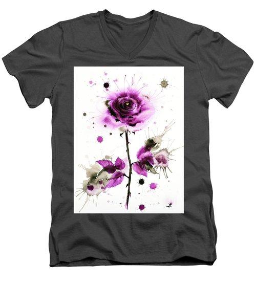 Gold Heart Of The Rose Men's V-Neck T-Shirt by Zaira Dzhaubaeva
