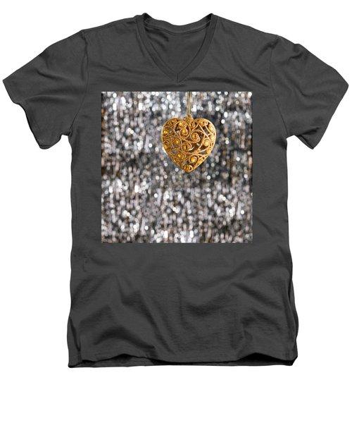 Men's V-Neck T-Shirt featuring the photograph Gold Heart  by Ulrich Schade