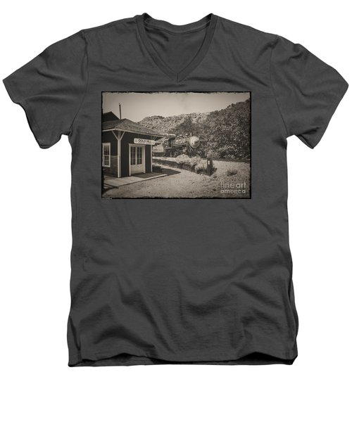 Men's V-Neck T-Shirt featuring the photograph Gold Hill Station by Mitch Shindelbower