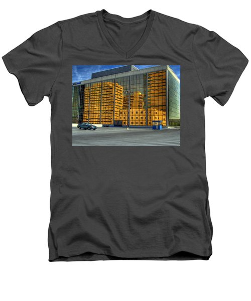 Men's V-Neck T-Shirt featuring the photograph Gold In The Bank by Farol Tomson