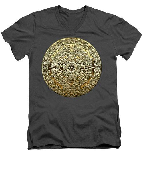 Gold Mayan-aztec Calendar On Brown Leather Men's V-Neck T-Shirt