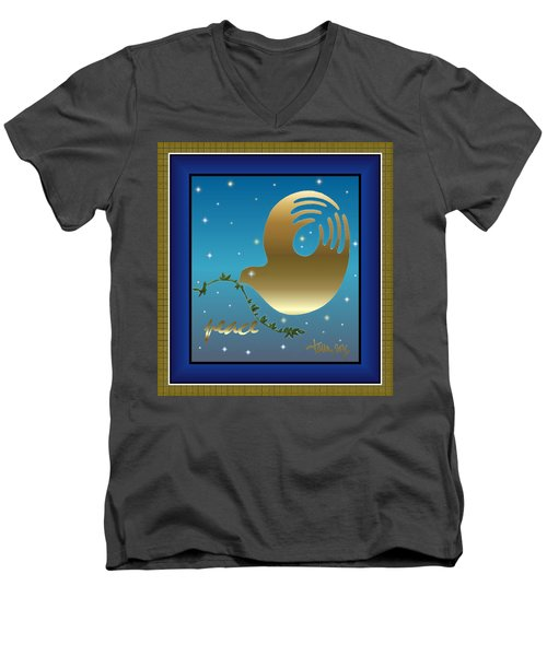 Gold Peace Dove Men's V-Neck T-Shirt