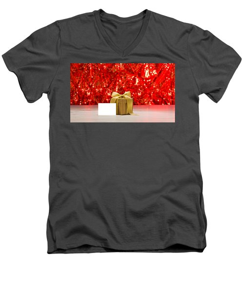 Men's V-Neck T-Shirt featuring the photograph Gold Present With Place Card  by Ulrich Schade