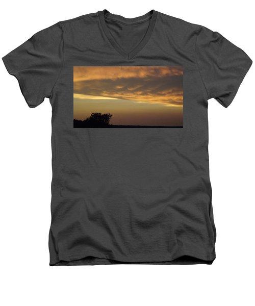 Gold Sky Over Lake Of The Ozarks Men's V-Neck T-Shirt by Don Koester