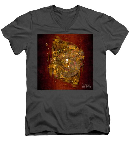 Men's V-Neck T-Shirt featuring the digital art Golden Abstract by Alexa Szlavics