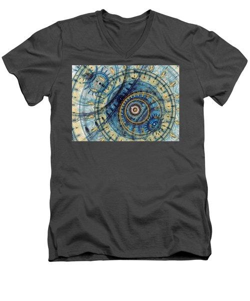 Golden And Blue Clockwork Men's V-Neck T-Shirt by Martin Capek