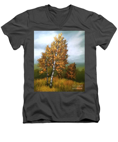 Men's V-Neck T-Shirt featuring the painting Golden Birch by Inese Poga