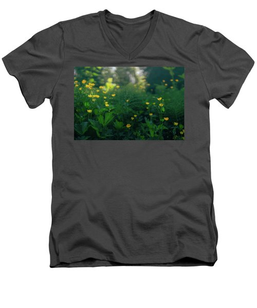 Golden Blooms Men's V-Neck T-Shirt