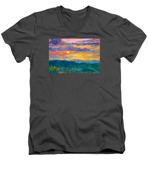 Golden Blue Ridge Sunset Men's V-Neck T-Shirt by Kendall Kessler