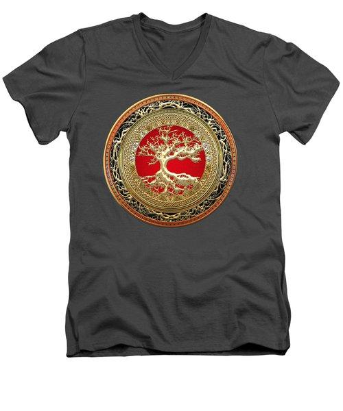 Golden Celtic Tree Of Life  Men's V-Neck T-Shirt