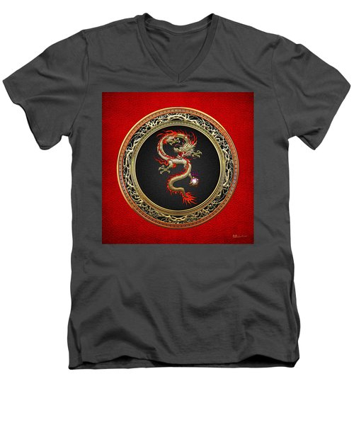 Golden Chinese Dragon Fucanglong On Red Leather  Men's V-Neck T-Shirt by Serge Averbukh