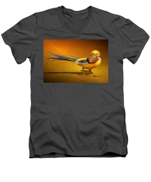 Golden Chinese Pheasant Men's V-Neck T-Shirt