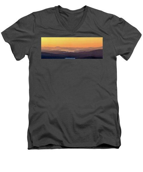 Men's V-Neck T-Shirt featuring the photograph Golden Dawn Over Squam And Winnipesaukee by Sebastien Coursol