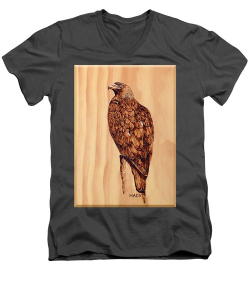 Golden Eagle Men's V-Neck T-Shirt by Ron Haist