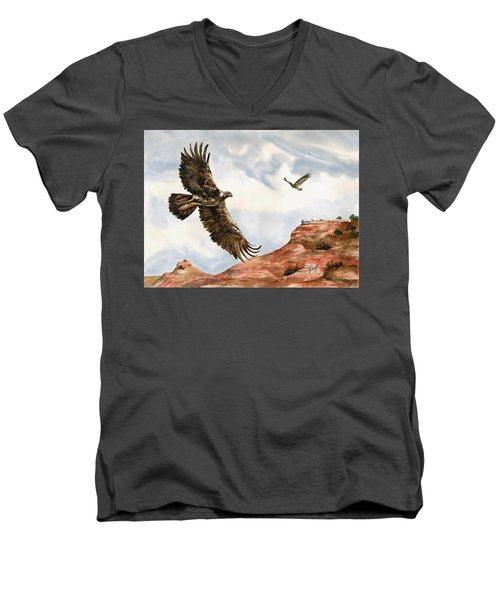 Golden Eagles In Fligh Men's V-Neck T-Shirt