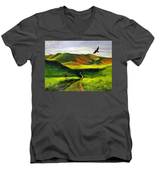 Men's V-Neck T-Shirt featuring the painting Golden Eagles On Green Grassland by Suzanne McKee