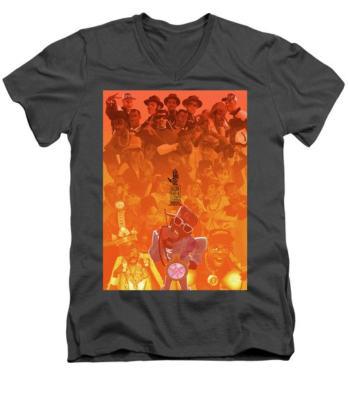 Golden Era Icons Collage 1 Men's V-Neck T-Shirt by Nelson dedos Garcia