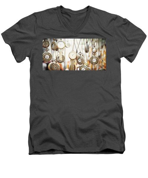 Golden Faces Of Time Men's V-Neck T-Shirt