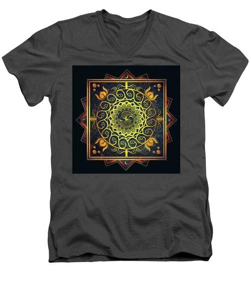 Men's V-Neck T-Shirt featuring the drawing Golden Filigree Mandala by Deborah Smith
