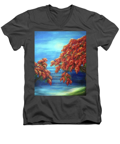 Golden Flame Tree Men's V-Neck T-Shirt