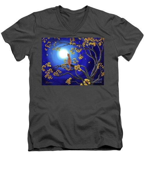 Golden Flowers In Moonlight Men's V-Neck T-Shirt