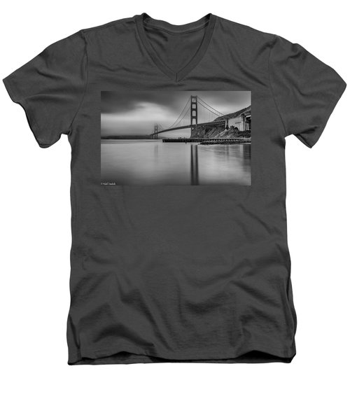 Golden Gate Black And White Men's V-Neck T-Shirt
