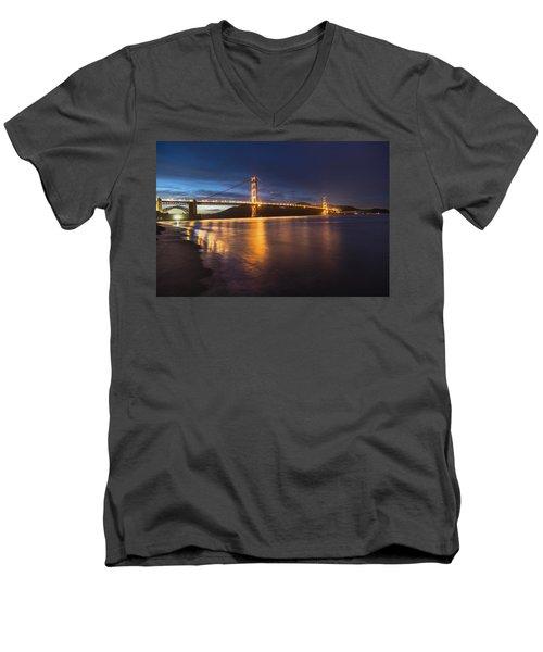 Golden Gate Blue Hour Men's V-Neck T-Shirt by John McGraw