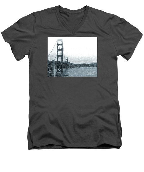 Golden Gate Blue Rain Men's V-Neck T-Shirt