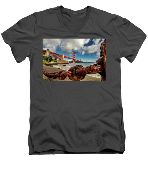 Men's V-Neck T-Shirt featuring the photograph Golden Gate Bridge And Ft Point by Bill Gallagher