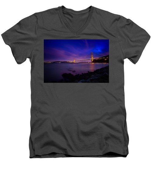 Golden Gate Bridge At Night Men's V-Neck T-Shirt