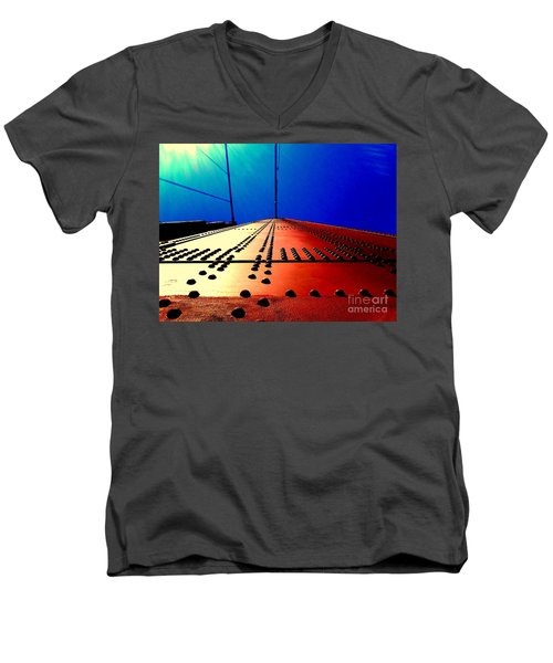 Golden Gate Bridge In California Rivets And Cables Men's V-Neck T-Shirt by Michael Hoard