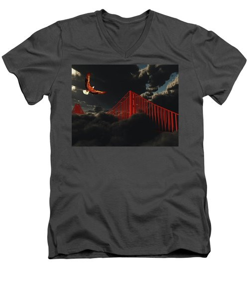 Men's V-Neck T-Shirt featuring the digital art Golden Gate Bridge In Heavy Fog Clouds With Eagle by Bruce Rolff