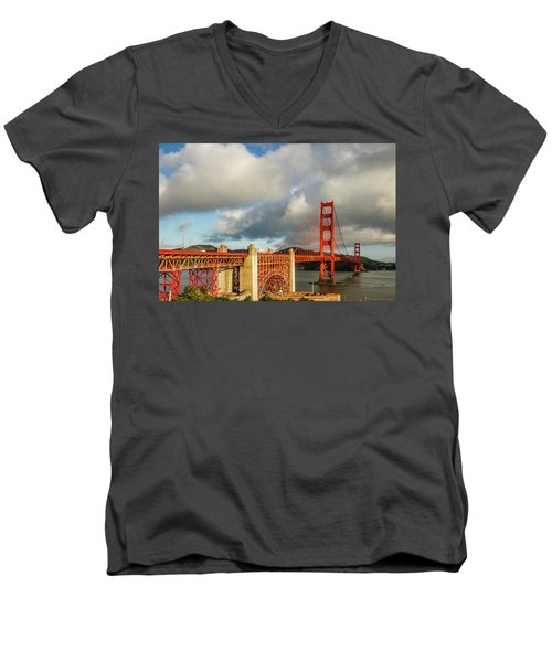 Men's V-Neck T-Shirt featuring the photograph Golden Gate From Above Ft. Point by Bill Gallagher