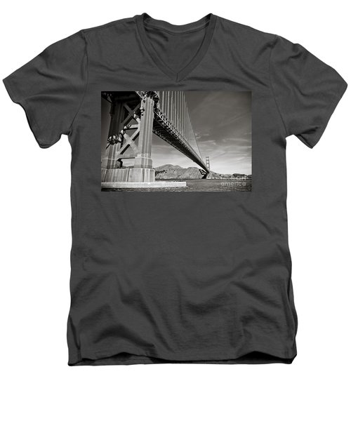 Golden Gate From The Water - Bw Men's V-Neck T-Shirt by Darcy Michaelchuk